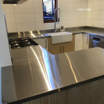 Stainless steel kitchen bench top